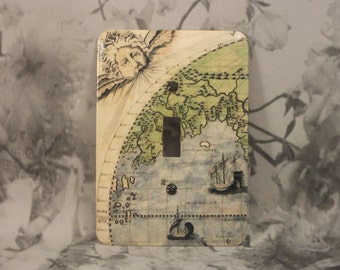 metal vintage map toggle light switch cover nautical light switch cover blowing in the