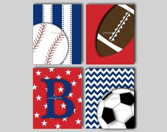Baseball Wall Art, Football Wall Art, Baseball Nursery Art, Sports Decor, Baby Boy Nursery Art, Baseball Print, Soccer, Choose Colors SP1912