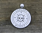 Enamel Pin - Skull Compass - Explore Wisely