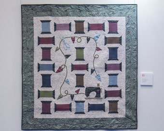 Scissors, Spools, and Thread Lynette Anderson Fabric Quilt Kit 61 x 65