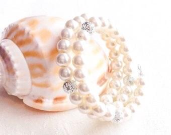 Ivory Pearl Bracelet, Ivory Bracelet, Ivory Jewelry, Wedding, Pearl Jewelry, Bridesmaid Gift, Bridesmaid Bracelet