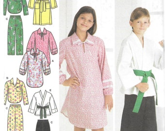 Simplicity Easy To Sew Pattern 3946 NIGHTSHIRT PJ's ROBE Karate Top Girls'/Boys' Sizes 7 8 10 12 14