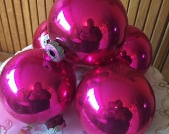 Five vintage  large deep pink glass ornaments