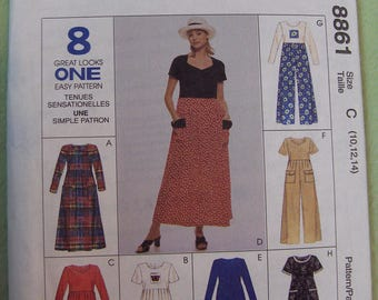 McCalls 8861 Women Dress or Jumpsuit pattern size 10 to 14