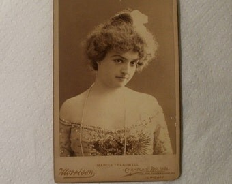 "Antique Cabinet Card / Actress Marcia Treadwell / ""Hearts are Trumps"" Play / Boston Museum December 1900"