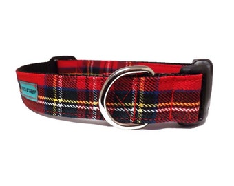 Holiday Tartan - Red Christmas Dog Collar | Available in 4 widths | Red 'Royal Stewart' Tartan