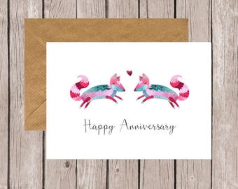 Foxes Happy Anniversary Card