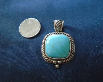 Turquoise Braided Blue 6.4g Vintage Sterling Silver Pendant
