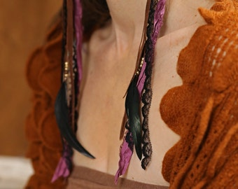 Purple Gyspy Earrings with Silk Ribbons // Leather // Rooster Feathers //Jojoba Seed Beads // Black Lace //Surgical Steel Hooks
