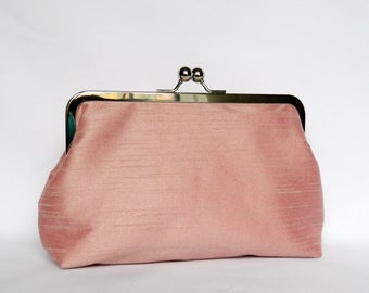 Dusky Pink Clutch, Silk Clutch, Pink Wedding Clutch, Dusky Pink Bridal Clutch, Pink Bridesmaid Clutch, Bridesmaids Gift, Evening Clutch