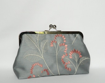 Embroidered Silk Clutch, Grey and Coral Floral Silk Clutch, Wedding Clutch, Bridesmaids Clutch, Evening Silk Clutch, Clutch Purse