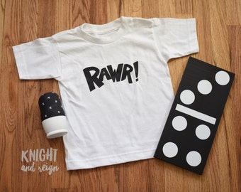 RAWR! Dinosaur Tee for Infants and Toddlers 6M 12M 18M 2T 3T 4T 5T Youth Sizes