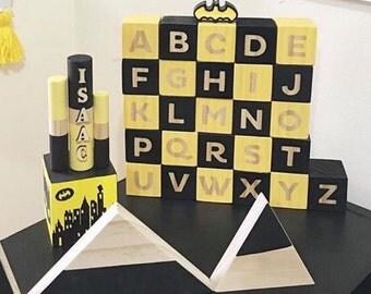 Batman Alphabet Block Set Series Black and Yellow Steelers Wooden