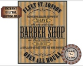 Goth Barber Shop Halloween Sign Printable Set Aged Victorian Fleet St. London Bay Rum on the House Closest Shave in Town No Discrimination