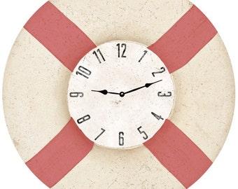 Life Preserver Wall Clock-Nautical Life Preserver Clock Coral Red