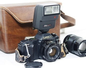 Vintage Canon T-50 SLR Camera with 50mm Lens, Flash, 135mm Lens, Film Camera and Full-set Case