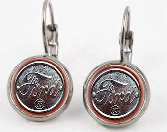 Vintage Ford Emblem Leverback Earrings