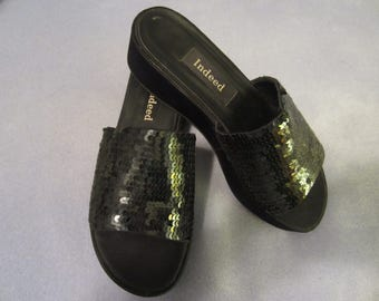 Black Sequined Wedge Slides by INDEED - Very Comfy