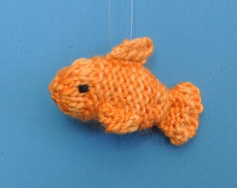 Goldfish Christmas Ornament   Hand-knit Goldfish Ornament  Fish Ornament  *Available to Order*