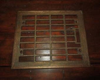Antique Architectural Salvage Cast Iron Metal Vent , Art Deco Grill ,