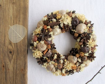 Dried flowers wreath Winter Rustic Christmas Home decor Front door Wall decor Candle ring Seasonal