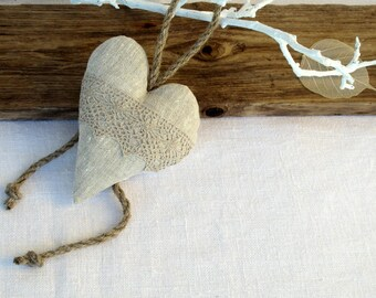 Heart shaped Lavender sachet scented bag Home frangances Linen heart ornament gift idea Gray