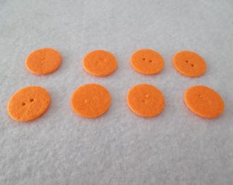 "8 Round felt buttons, orange, 13/16"", for embellishing, sewing, quilting, needlecrafts"