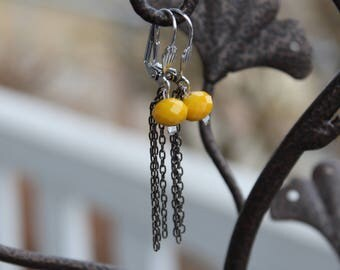 Earrings dangling yellow hypoallergenic
