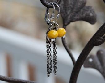 Earrings dangling yellow hypoallergenic