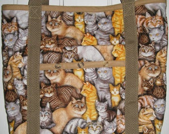 Cat Quilted Tote Bag Brown, Orange and Gray Cats
