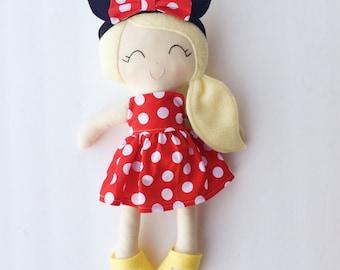 Minnie doll - cloth doll - fabric doll - mickey - mouse ears - plush doll