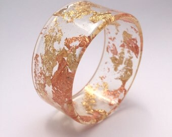 Handmade eco-resin wide bangle with embedded copper and gold leaf