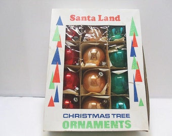 Poland Santa Land Ornaments / Multi Colored Mercury Glass Christmas Ornaments