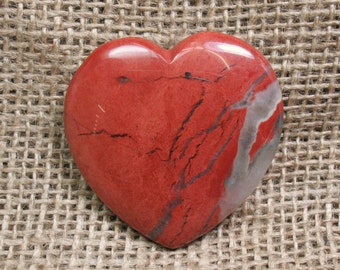 Red Jasper Flat Heart, 45 mm - Item 74292
