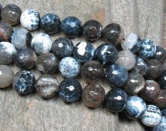 "12 mm Fired Agate Beads Faceted, 15"" Strand - Item B0878"