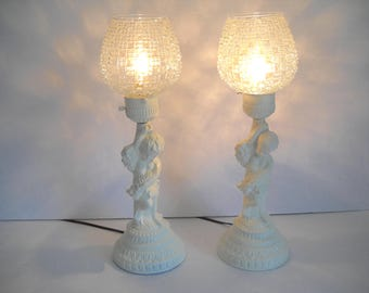Pair of White Cherub Lamps With Cut Glass Shades
