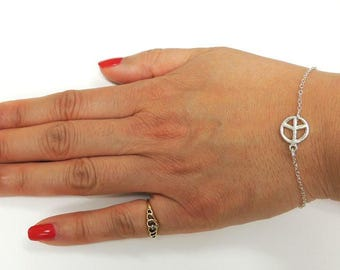 Peace Sign Bracelet, Simple Dainty Bracelet, Sterling Silver Bracelet, Charm Bracelet, Silver Chain Bracelet