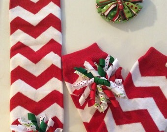 Red and White Chevron Leg Warmers with matching Bow