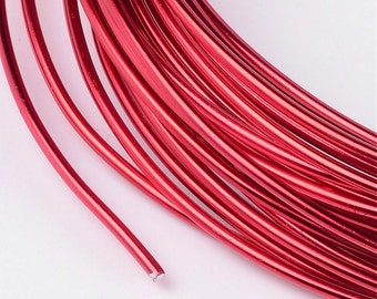 Red Aluminum Anodized Wire - Jewelry Making Wire roll - 15 gauge - 1.5mm thick -Round & Shiny