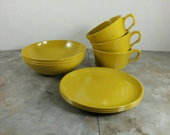 Vintage Mustard Yellow Plastic Breakfast or Lunch Set for Three - Kids Breakfast or Lunch Set