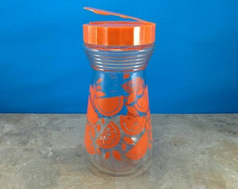 Vintage Glass Orange Juice Pitcher with Plastic Flip Top Lid - 1970s
