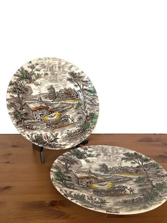 Ironstone plates Staffordshire Yorkshire hand engraved ceramic dishes