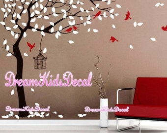 Nursery wall decal baby wall decal children wall decal room vinyl decal stickers nature trees decal with flying birds-DK058