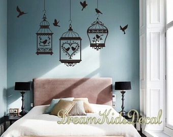 Birdcage Wall Decals, Birdcage Decal, Wall Stickers-3 Birdcage with Birds Wall Art-DK261