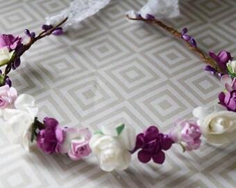 lilac halo- purple halo-petite halo- flower crown- vintage flower crown- fairy halo