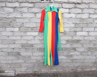 Vintage Jumpsuit 1970s 60s The Brady Bunch Partridge Family Circus Inspired sz fits Small Oversized Color Block