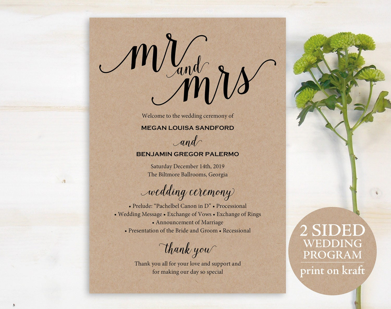 Wedding Program Template, Rustic Wedding Program, Printable Program ...