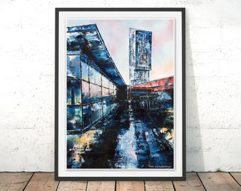 Beetham Tower Art Print Beetham Tower Painting Manchester The Hilton Manchester Print Manchester Landscape Art Print Beetham Tower by Hugh
