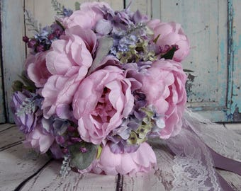 Pink Peony Bouquet, Silk Peony bouquet with Rose, Anemone and Ranunculus, Pink Peony and Brooch Bouquet
