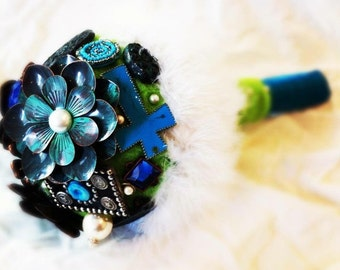 Felt, Feather, and Broach Bridal Bouquet